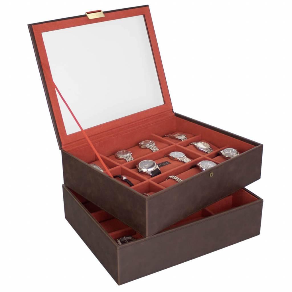 Vintage Brown XL horlogedoos 30 pcs set