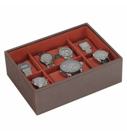 Stackers Vintage Brown Large Boîte de Montre 8 pcs Ouvert