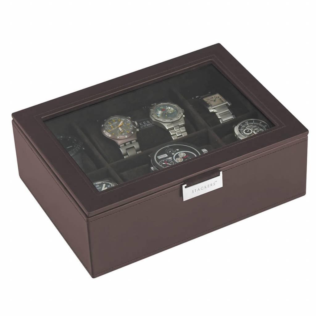 Chocolate Brown Large Uhrenbox 8 Stck Deckel