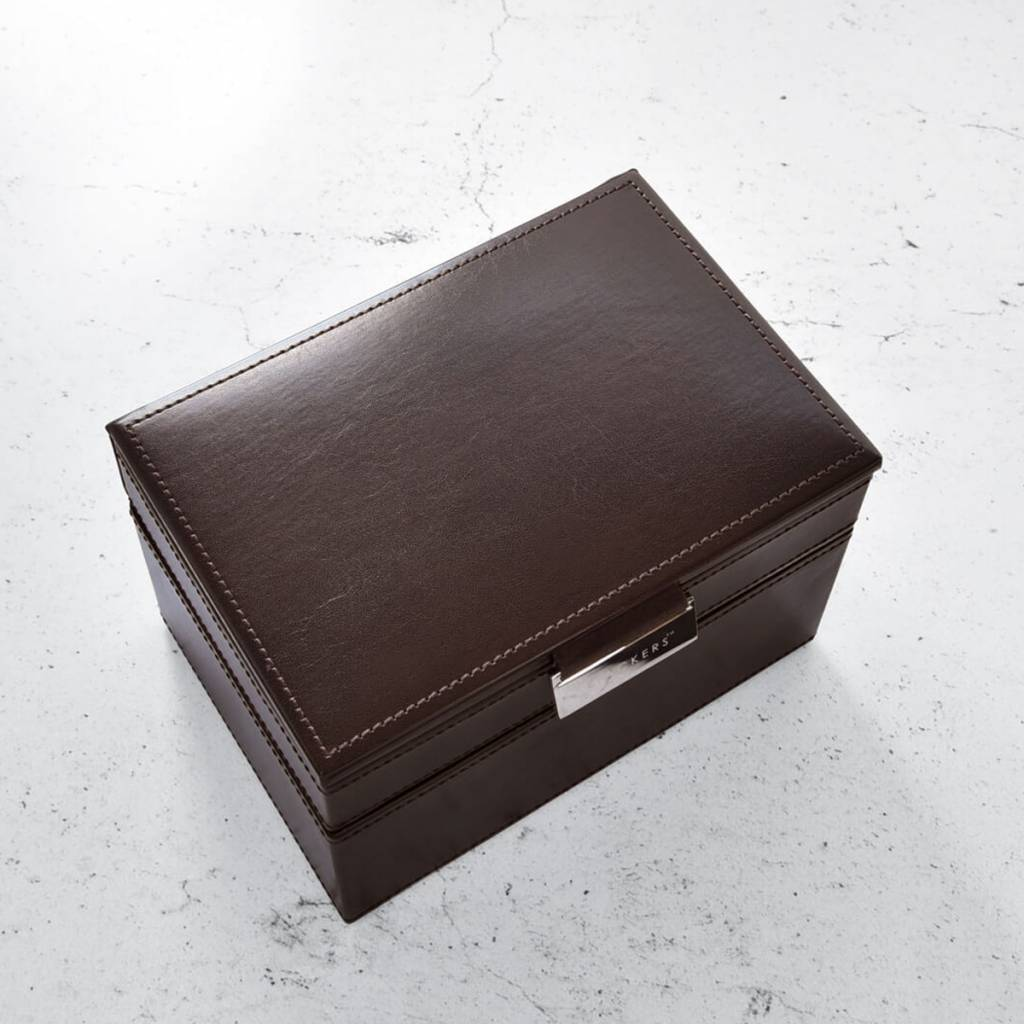 Chocolate Brown Mini Set Manschettenknöpfe & Uhrenbox