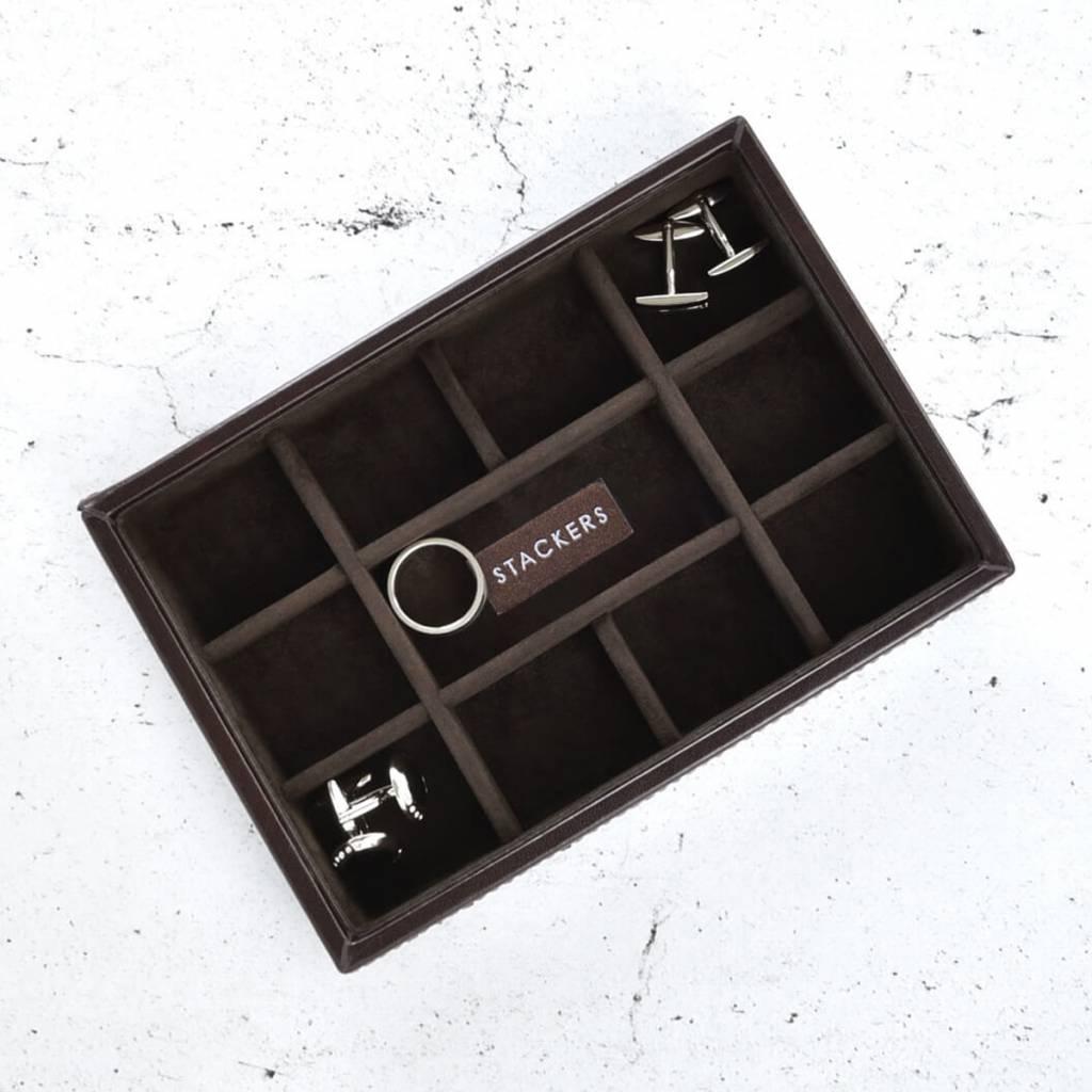 Chocolate Brown Mini manchetknopen doos open