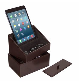 Stackers Chocolate Brown Mini Set Telefonhalter & Uhrenbox