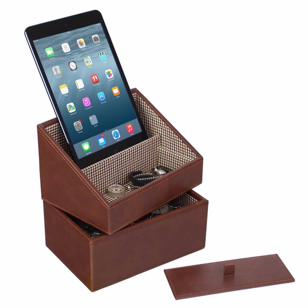 Tan Mini Set Telefonhalter & Uhrenbox