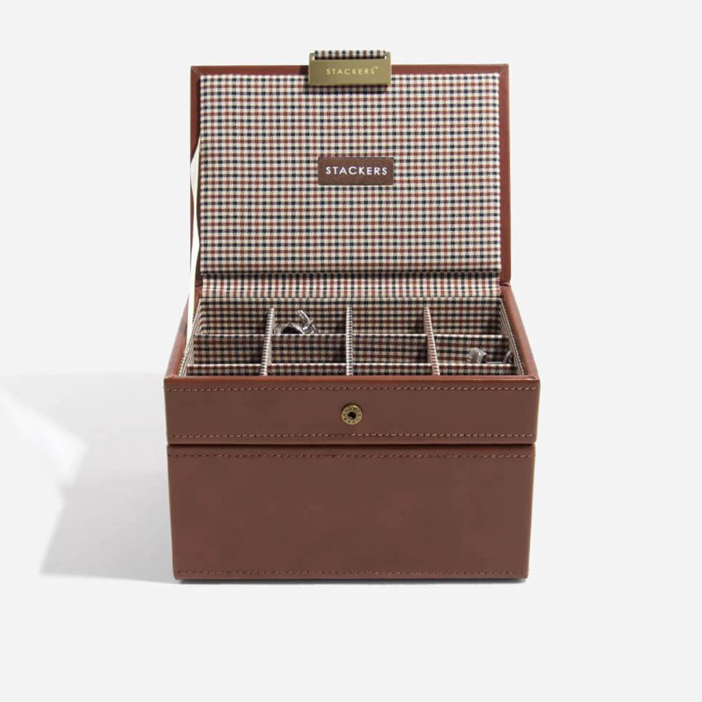 Tan Mini Ensemble Boîte de Boutons & Boîte de Montre