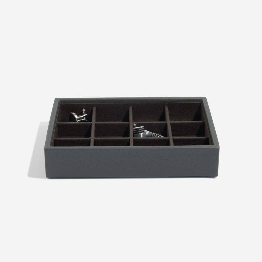Mini Charcoal manchetknopen doos open