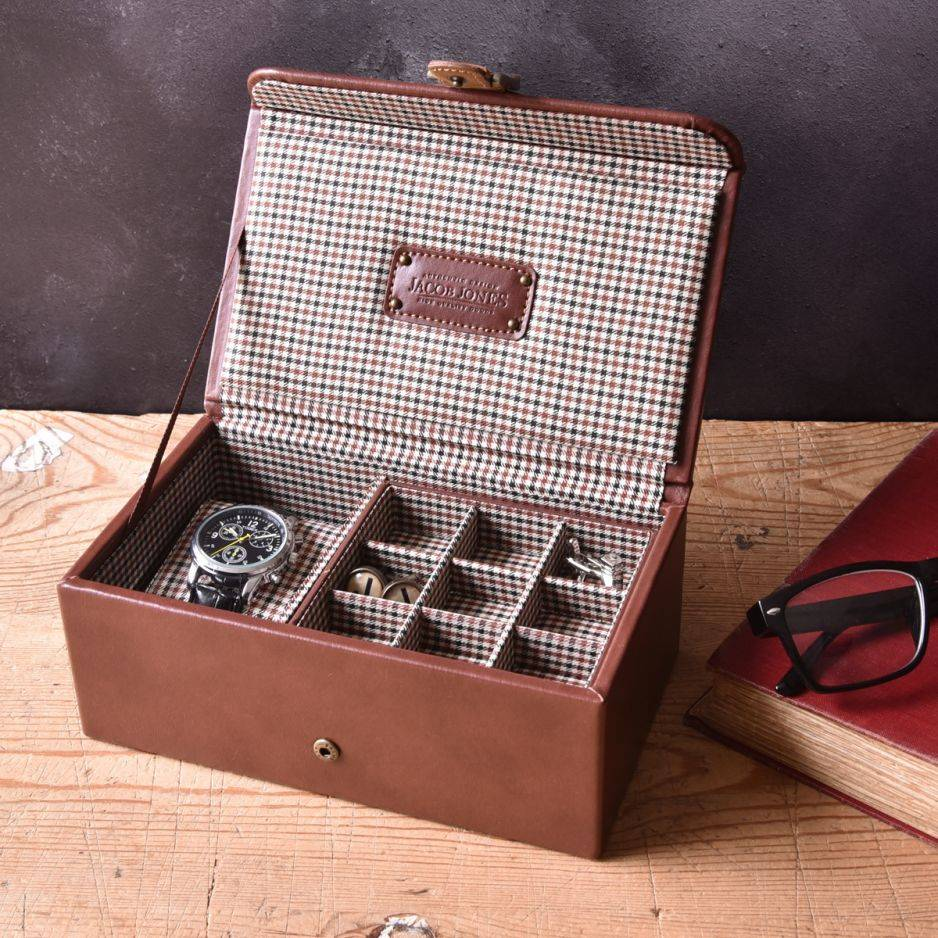 Horloge-manchetknopendoos cognac