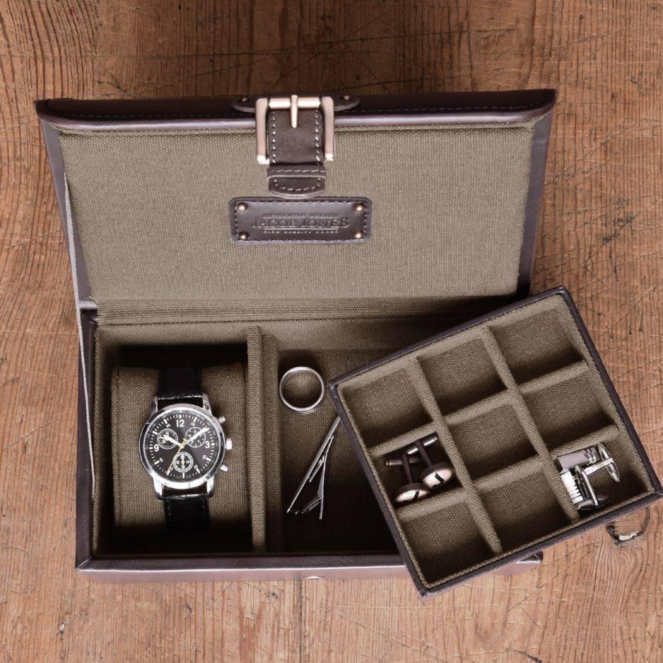 Horloge-manchetknopendoos bruin