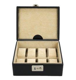 Windrose Uhrenbox 8 Stück schwarzes Leder