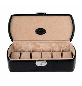 Windrose Uhrenbox für 6 Uhren Merino