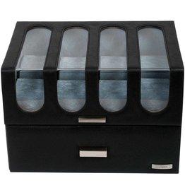 Windrose Uhrenbox für 16 Uhren Chrono Schwarz