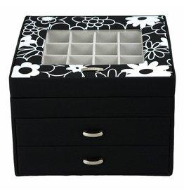 Windrose Charm Box Blumen schwarz