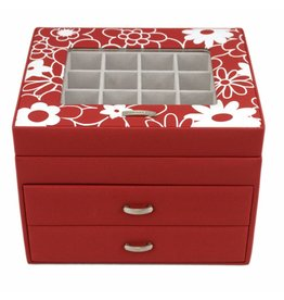 Windrose Charm Aufbewahrungsbox Blumen Rot