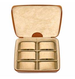 Windrose Uhrenbox 6 Stück Cognac Compact