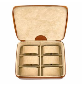Windrose Uhrenbox für 6 Uhren Cognac Kompakt