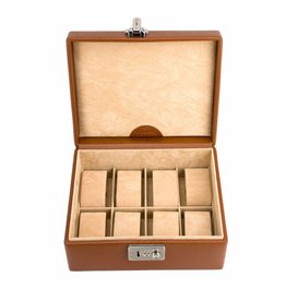 Windrose Horlogebox 8 pcs Cognac leer
