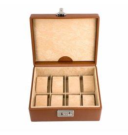 Windrose Uhrenbox 8 Stück Cognac Leder