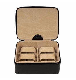 Windrose Uhrenbox für 6 Uhren Schwarz Kompakt