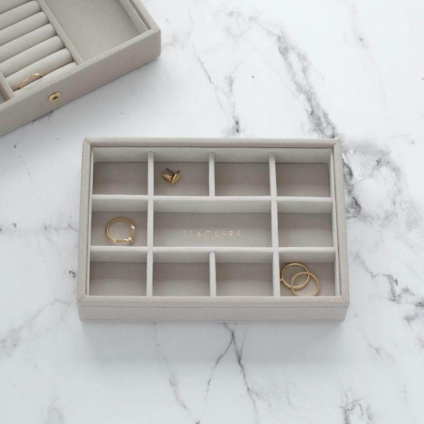 Boîte à Bijoux Taupe Mini 11 sect.