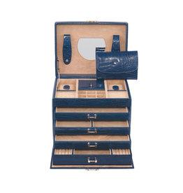Windrose Sieradendoos Croco XL Blauw