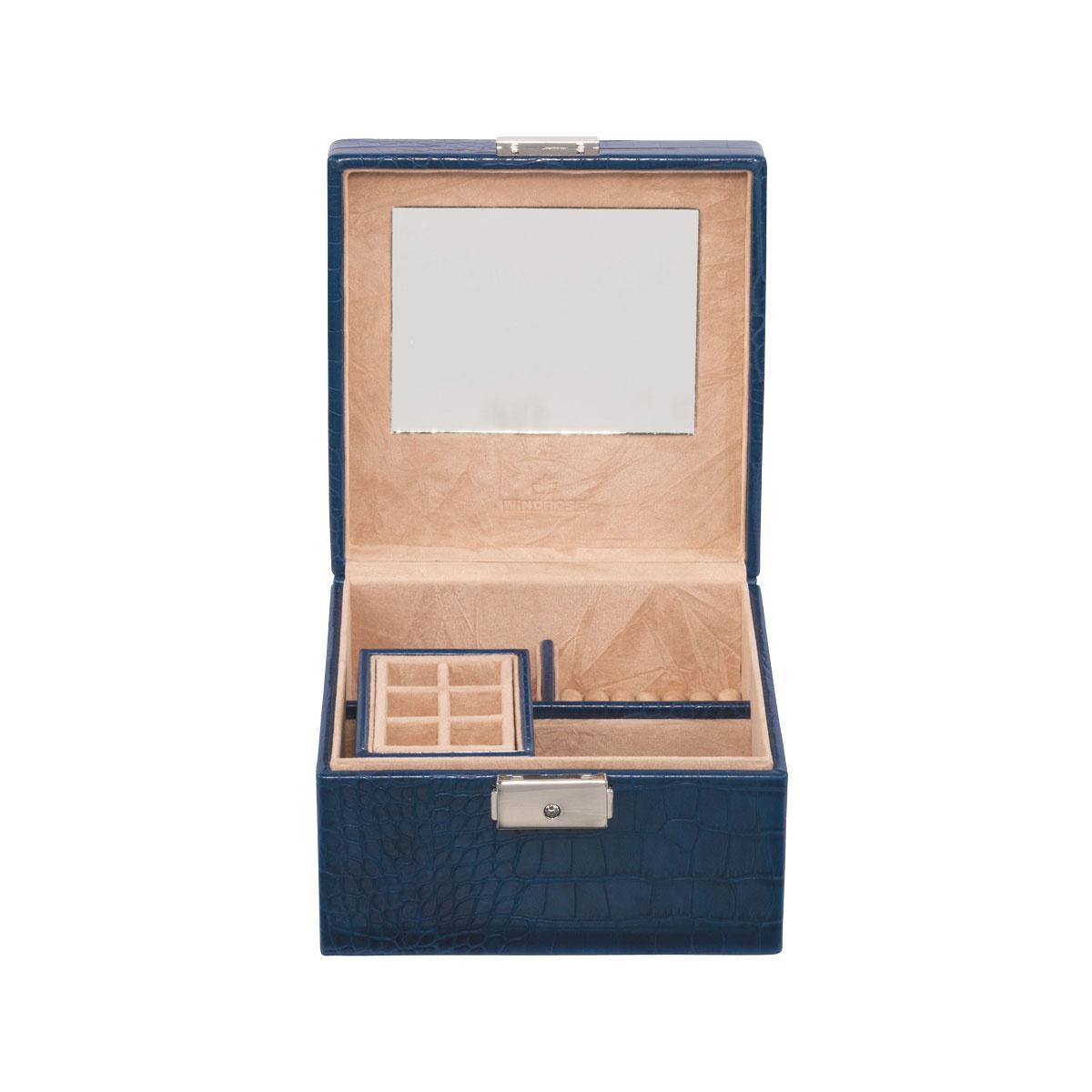 Schmuckkoffer Blau Croco