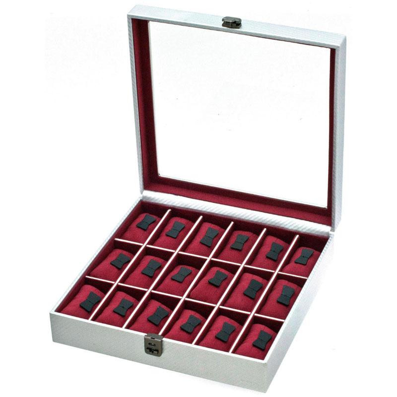 Uhrenbox für 18 Uhren Graphite Silber