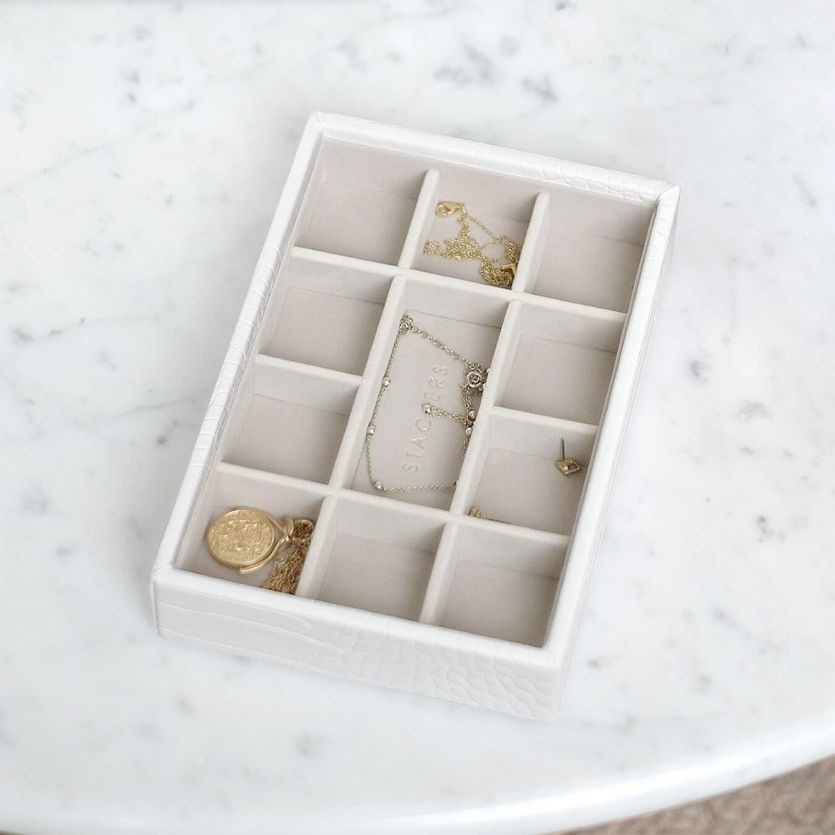 Boîte à bijoux Chalk White Croc Mini 11 compartiments