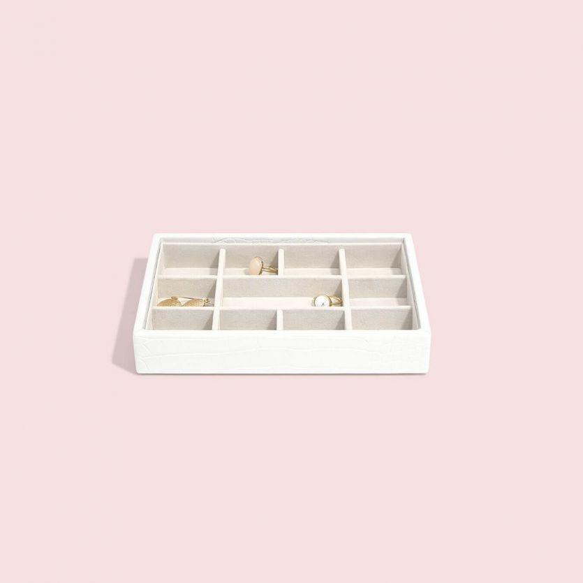 Sieradendoos Chalk White Croc Mini 11-vaks