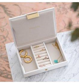 Stackers Boîte à bijoux Chalk White Croc Mini Top
