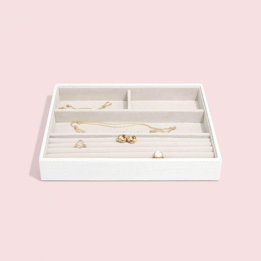 Boîte à bijoux Chalk White Croc Classic 4 compartiments