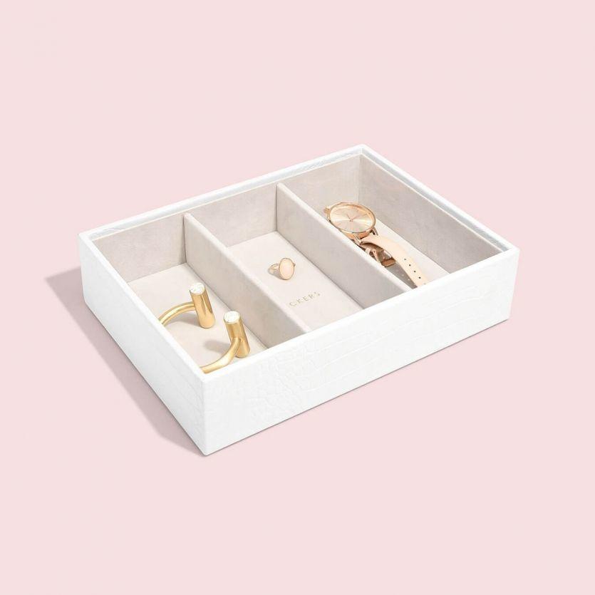 Boîte à bijoux Chalk White Croc Classic 3 compartiments