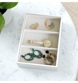 Stackers Boîte à bijoux Chalk White Croc Classic 3 compartiments