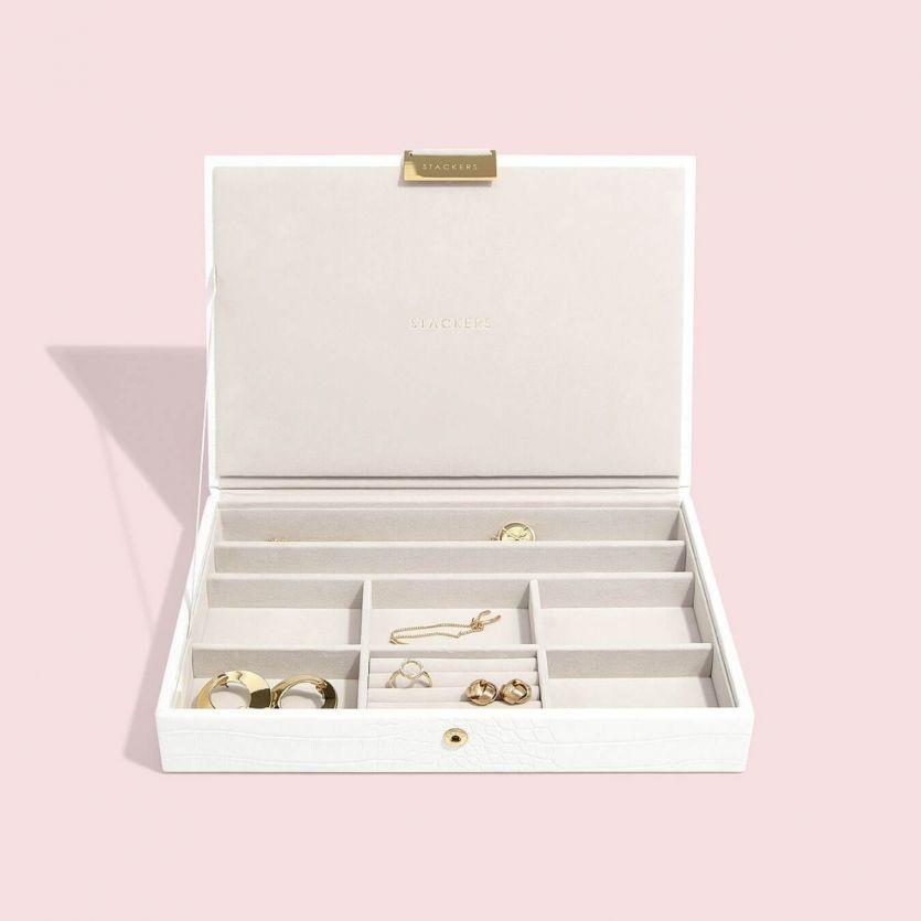 Coffret à bijoux Chalk White Croc Classic set