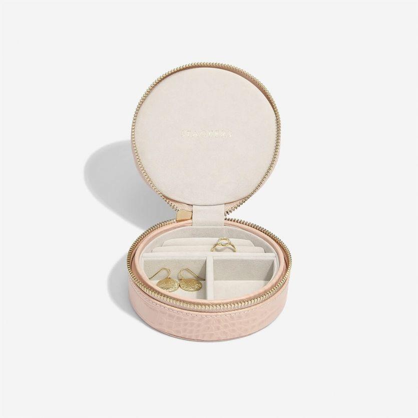 Boîte à bijoux Pink Croc pochette de voyage autour