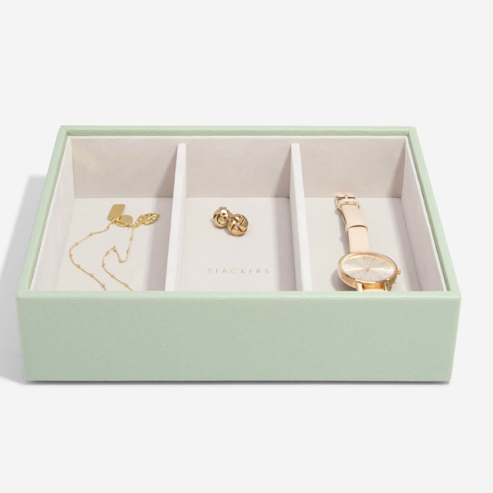 Boîte à bijoux Sage Green Classic 3 compartiments