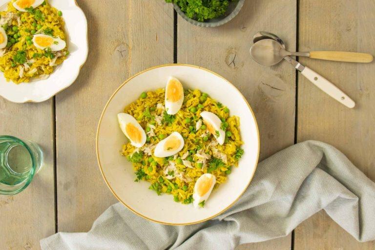 Kruidige rijst met gerookte makreel en met Hubert Beck Riesling