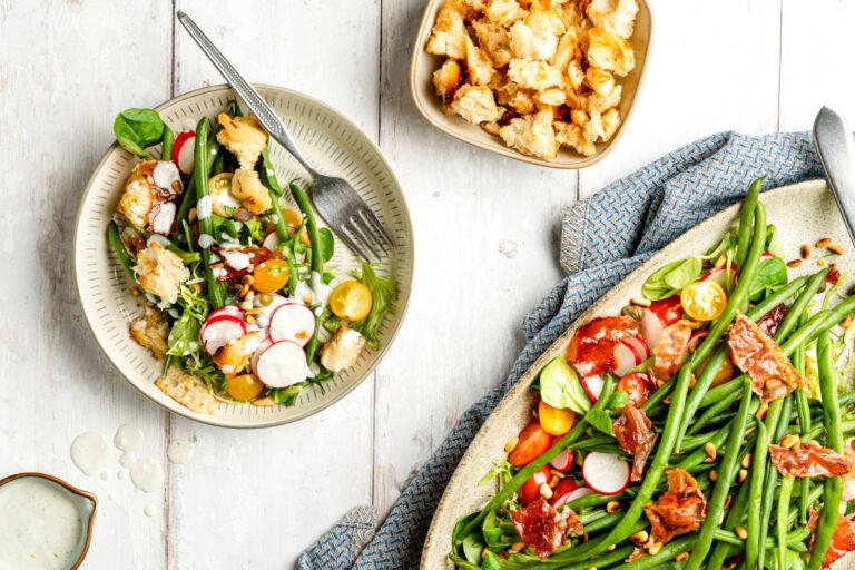 Haricots verts salade met knapperige ham met A&D Wines Monologo Arinto