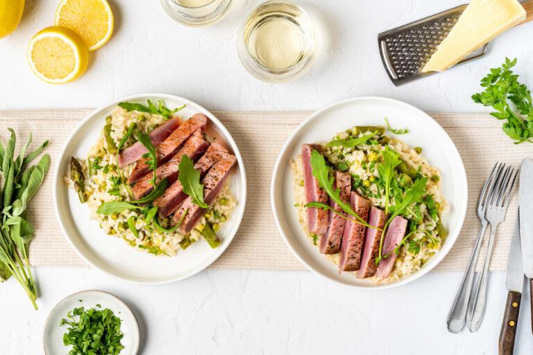 Citroenrisotto met tonijnsteak en met Paul Mas Bignes de Nicole Chardonnay-Viognier
