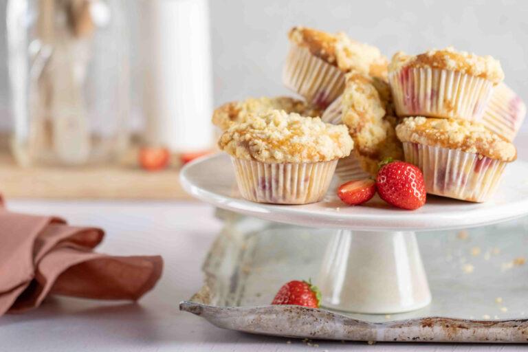 Aardbei crumble muffins met Chateau Fontebride Sauternes