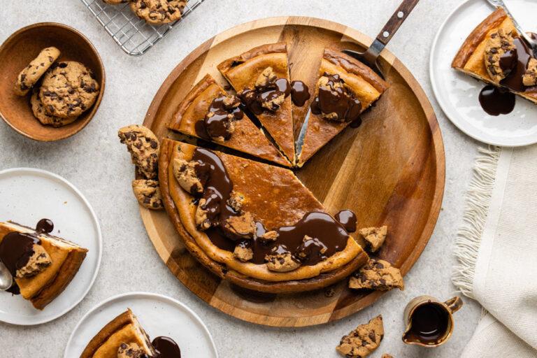 New York style cheesecake met chocolate chip cookies met Serre Romani Muscat de Rivesaltes
