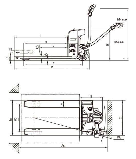 CTB EPT20-15EHJ pallettruck afmetingen