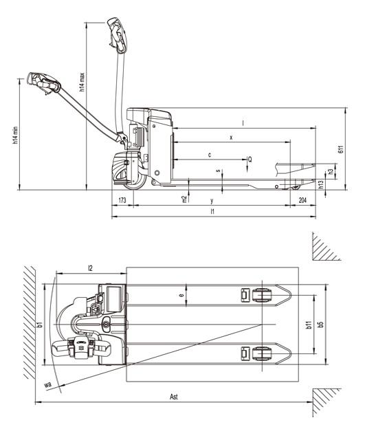CTB EPT20-15ET2 pallettruck afmetingen