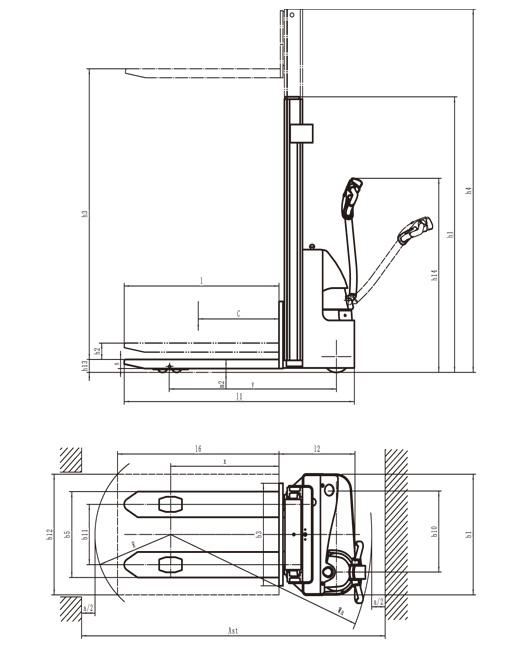 Afmetingen CTB ES15-15 ES stapelaar