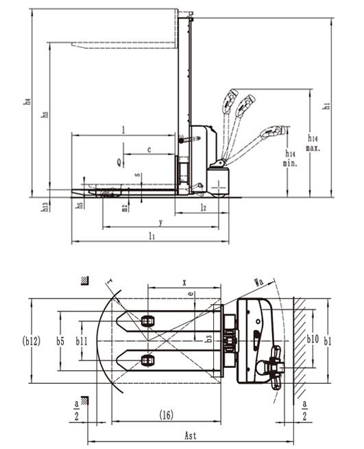 Afmetingen CTB ES12-12 MMi stapelaar