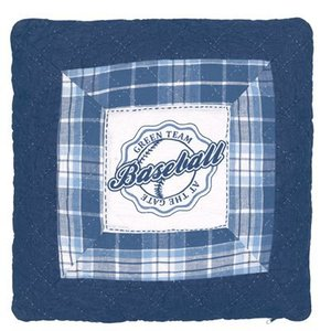 GreenGate Quilted Cushion Baseball blue 50