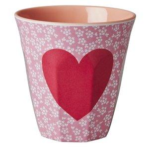 Rice Melamine Medium Cup with Heart Print