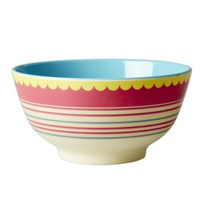 Rice Melamine Bowl with Striped Print
