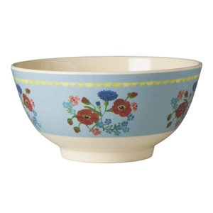 Rice Melamine Bowl with Soft Blue Flower Print