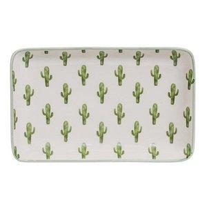 Bloomingville Jade Plate rect. green Cactus 19x12