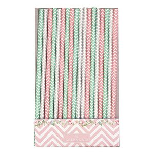 GreenGate Paper straw Ziggy pink 20 pcs.