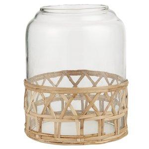 IB Laursen Glasglocke Loch oben mit Bambusgeflecht